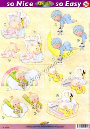 Morehead Baby On The Moon & Other Designs 3D Die Cut Decoupage Sheet